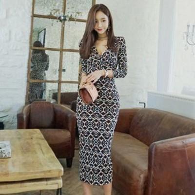 キャバ ドレス キャバドレス ミディアムドレス オリエンタル ワンピース 伸縮性 ネイビー S M L XL