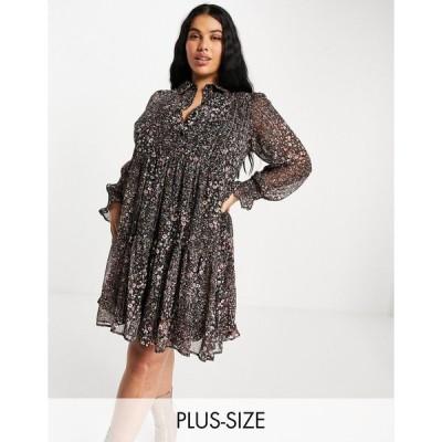 ユアーズ ドレス 大きいサイズ レディース Yours mini dress in rust floral print エイソス ASOS ブラック 黒