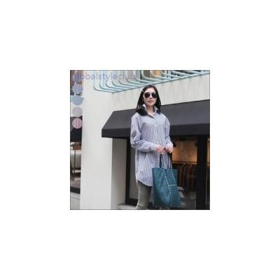 ロールアップ袖 ストライプシャツ ロング丈 長袖 ベージュ スカイブルー レッド ネイビー ブラック レディース 春 夏 カジュアル