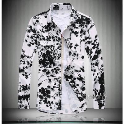 長袖シャツ メンズシャツ トップス 大きいサイズあり カジュアルシャツ 花柄シャツ総柄プリント フラワー アロハシャツ クリンクル 個性和柄 春夏秋冬