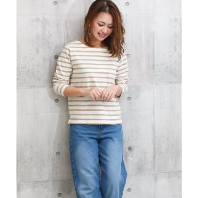 ソーシャルガール Social GIRL ボートネックボーダーロングTシャツ (オフ×ベージュ)
