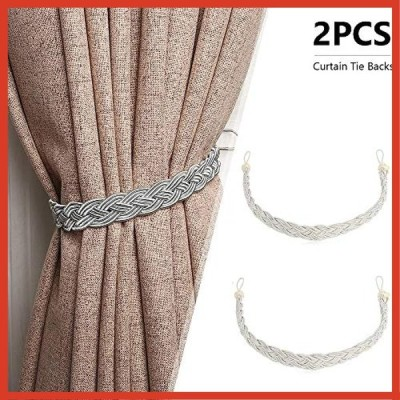 nancylyebr カーテンタッセル ロープタッセル 2個セット ロープ式 カーテン留め飾り 紐 締め 編み込み ベージュ