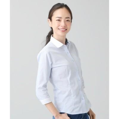 【Disney ディズニー】形態安定ノーアイロン クレリックワイドラウンド衿 7分袖ビジネスワイシャツ