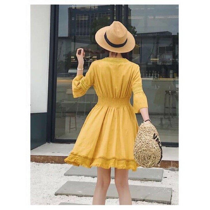 【預購】短袖洋裝 棉麻下鬚洋裝 短袖洋裝 夏天穿搭 流行服飾 少女洋裝 女神洋裝 夏季洋裝 韓版