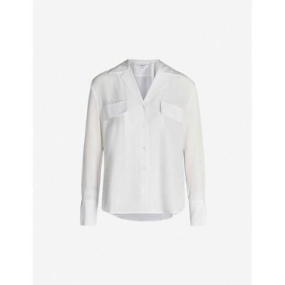 フレーム FRAME レディース ブラウス・シャツ トップス Revere-collar silk blouse Blanc