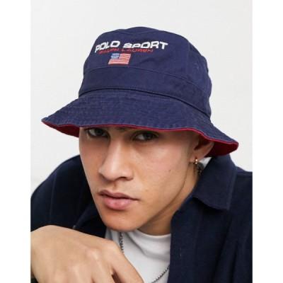 ラルフ ローレン Polo Ralph Lauren メンズ ハット バケットハット 帽子 Sport Bucket Hat In Navy With Logo ネイビー