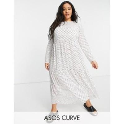 エイソス レディース ワンピース トップス ASOS DESIGN Curve long sleeve tiered smock midi dress in white polka dot White base spot