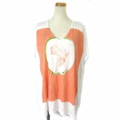 【中古】エスカーダ ESCADA Tシャツ カットソー Vネック プリント オーバー M 白 オレンジ ECR3 レディース