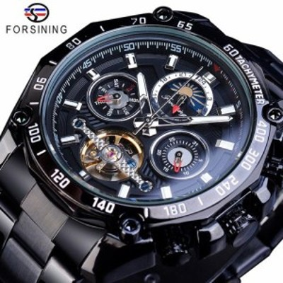 Forsiningフル黒トゥールビヨン機械式時計の男性ムーンフェイズ日付ステンレス鋼バンド自動腕時計erkek GMT1163-4