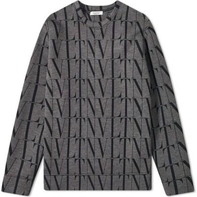 ヴァレンティノ Valentino メンズ スウェット・トレーナー トップス VLTN All Over Print Crew Sweat Grey/Black