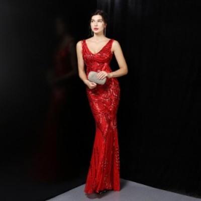 イブニングドレス 安い 可愛い マーメイド フィッシュテール パーティードレス ロング ノースリーブ 大人 式 ドレス キャバ