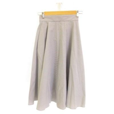【中古】ユニクロ UNIQLO ロングスカート フレア ストレッチ ストライプ 白 紺 S *E190 レディース 【ベクトル 古着】