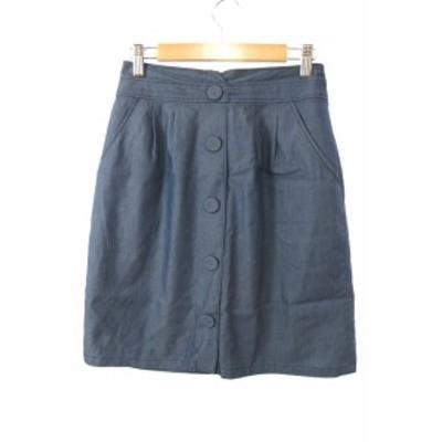 【中古】ミッシュマッシュ スカート ひざ丈 台形 シャンブレー フェイクフロントボタン タック 総柄 36 青 レディース