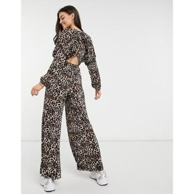 エイソス レディース ワンピース トップス ASOS DESIGN frill open back long sleeve plisse tea jumpsuit in leopard print