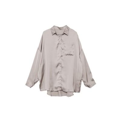 【シルキー】 ヴィンテージサテンオーバーサイズシャツ/ブラウス レディース グレージュ Mサイズ Silky
