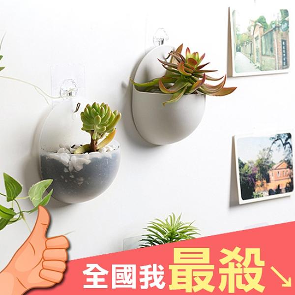壁掛式 花盆 塑膠花盆 置物架 半圓 壁掛式收納盒 花架 筆筒 簡約 壁掛式 花盆【P309】米菈生活館