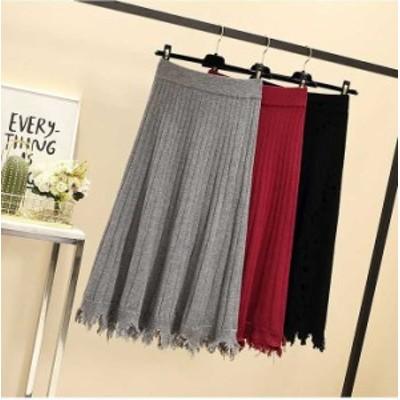 大きいサイズ レディース リブニットスカート ミモレ丈 ウエストゴム ボトムスビッグサイズ オーバーサイズ  韓国ファッション  LL 3L 4L