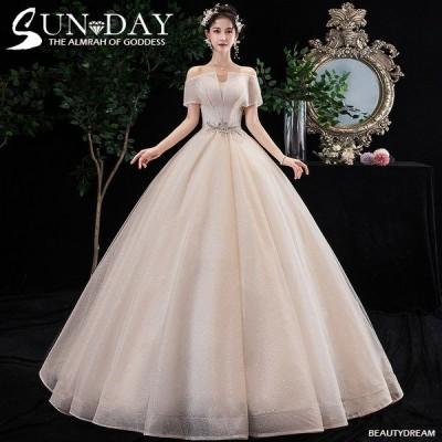 ウェディングドレス ウェディングドレス白 パーティードレス オフショルダー 花嫁ロングドレス 結婚式 トレーンライン 二次会 エレガント お呼ばれ 挙式hs5486
