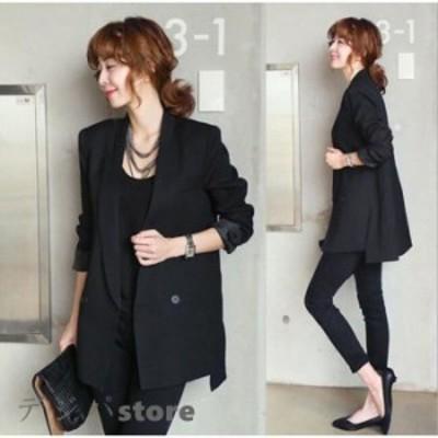 スーツ レディース スーツジャケット 黒 ジャケット ゆったり ロング テーラードジャケット おしゃれ 30代 40代 フォーマル ビジネススー