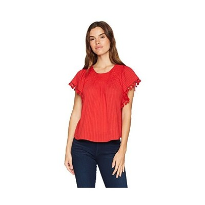 MOON RIVER Women's Butterfly Flowy Loose POM Trim Casual TOP, red, M