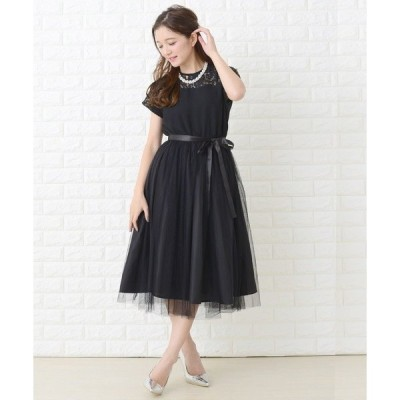 ドレス ウエストリボン付きレースフレンチ袖チュールフレアワンピース・ドレス
