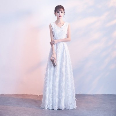 ウエディングドレス スレンダーライン エンパイアライン 大きいサイズ 3L ロング Vネック ノースリーブ フェザー ハイウエスト 結婚式 二次会 花嫁