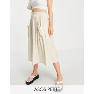 エイソス レディース スカート ボトムス ASOS DESIGN Petite midi skirt with pocket detail in sand Sand