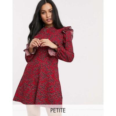 リバーアイランド River Island Petite レディース ワンピース ワンピース・ドレス floral print frill mini dress in red レッドフローラル