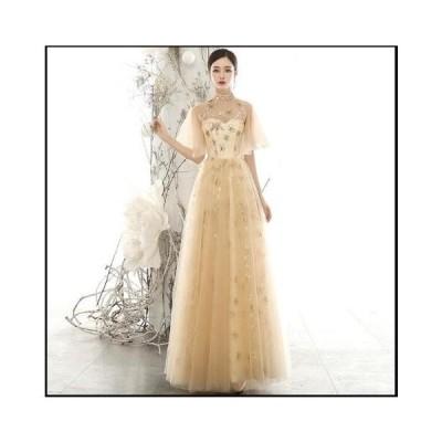 お呼ばれドレス 結婚式 韓国風 Aライン ワンピース レディース イブニングドレス 高級感 星柄 透け感あり 立ち襟 ロングドレス パーティードレス きれいめ
