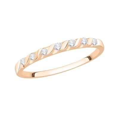 Diamond Wedding Band in 10K Pink Gold (1/10 cttw, (G-H,I2-I3) (Size-12