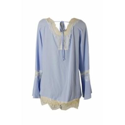 ファッション トップス Ny Collezione Chambray Blu Lace-Trim Rurale Maglia S