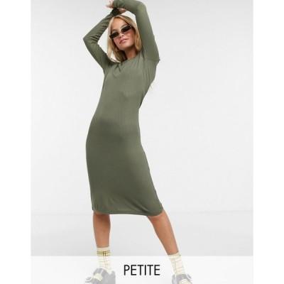 ノイジーメイ ミディドレス レディース Noisy May Petite ribbed midi dress in khaki エイソス ASOS グリーン 緑
