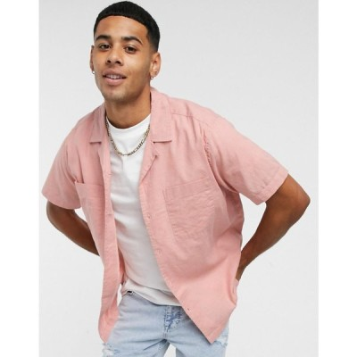 トップマン Topman メンズ 半袖シャツ トップス short sleeve linen shirt with revere collar in pink ピンク