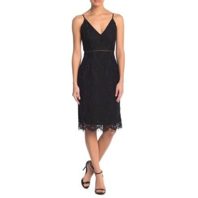 アストール レディース ワンピース トップス Lace V-Neck Sheath Dress BLACK
