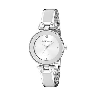 Anne Klein Women's AK/1981LGSV Diamond-Accented Silver-Tone and Light Grey Bangle Watch【並行輸入品】