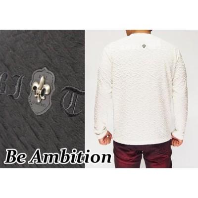 【カジュアル期間限定セール】定価8800円を32%OFFセール[SALE] Be Ambition[ビーアンビション] 百合ワッペン&ロゴ 刺繍 クルーネッ