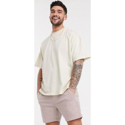 エイソス ASOS DESIGN メンズ Tシャツ トップス Oversized T-Shirt With Crew Neck In Beige ライトグレー