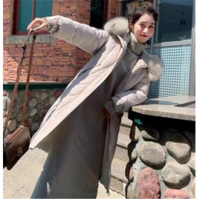 トレンド毛の襟 ダウンコート フード付きジャケット 綿入れの服
