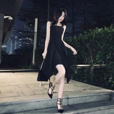 パーティードレス 安い 可愛い 綺麗め お洒落 キャミ ワンピース 上品 エレガント シンプル サマードレス ブラック 黒