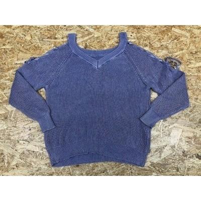 SIMPLICITE シンプリシテェ 肩幅61cm レディース ローゲージニット セーター 肩が見えるデザイン 無地 長袖 ラグラン 綿100% パープル 紫