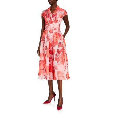 リラローズ レディース ワンピース トップス Oversized Rose Fil Coupe Cap-Sleeve Full Skirt Dress
