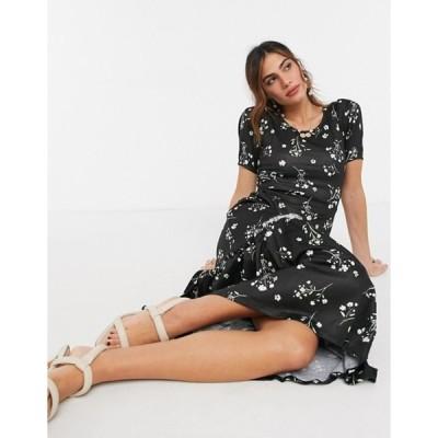 リバーアイランド レディース ワンピース トップス River Island floral midi dress in black