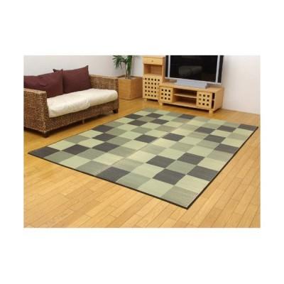 IKEHIKO 純国産 い草ラグカーペット 『ブロック2』/8220430 グレー/約191×250cm