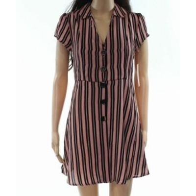ファッション ドレス Inspired Hearts Pink Black Medium M Junior Stripe Crepe Shirt Dress