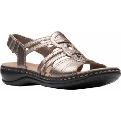 クラークス レディース サンダル シューズ Women's Clarks Leisa Janna Slingback Sandal Pewter Metallic Leather