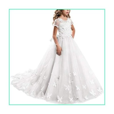 Princess White Long Girls Pageant Dress Kids Prom Puffy Tulle Ball Maxi Gown Elegant Dance Wedding Junior Bridesmaid Evening #G White 12-13 Years並