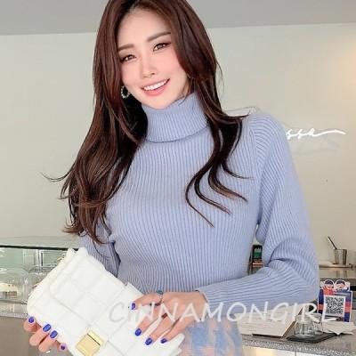 【全3色】ハイネック長袖ニット スカイ キャメル ブラック 【knit-1120ymmtop】  (1202)(lam)