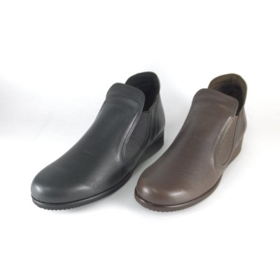 シティゴルフ City Golf 靴 レディース GFL5199 クロ ダークブラウン ブーティー スリッポン サイドゴア ウェッジソール 履きやすい靴 レディース 大きいサイズ