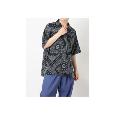 スタイルブロック STYLEBLOCK バンダナ総柄半袖ビッグシャツ (ブラック)