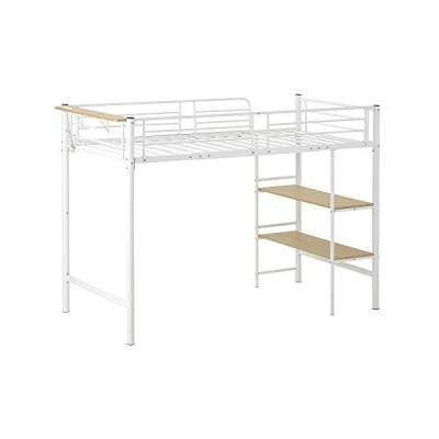 パイプベッド ロフトベッド シングル コンセント付き 収納 子供ベッド 二段ベッド 子供部屋二段ベッド スチー